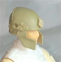 "Headgear: Tactical Helmet TAN & Tan Version - 1:18 Scale Modular MTF Accessory for 3-3/4"" Action Figures"