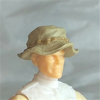 "Headgear: Boonie Hat TAN & Tan Version - 1:18 Scale Modular MTF Accessory for 3-3/4"" Action Figures"