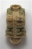 "Female Vest: High Collar Type Tan & Tan Version - 1:18 Scale Modular MTF Valkyries Accessory for 3-3/4"" Action Figures"