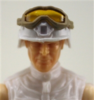 "Headgear: Large Goggles TAN Version with YELLOW Tint - 1:18 Scale Modular MTF Accessory for 3-3/4"" Action Figures"