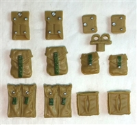 "Pouch & Pocket Deluxe Modular Set: DARK TAN & Green Version - 1:18 Scale Modular MTF Accessories for 3-3/4"" Action Figures"