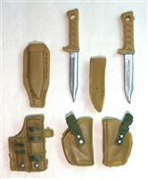 "Pistol Holster & Knife Sheath Deluxe Modular Set: DARK TAN & Green Version - 1:18 Scale Modular MTF Accessories for 3-3/4"" Action Figures"