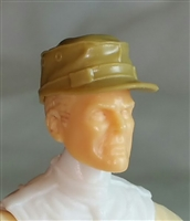"Headgear: Fatigue Cap DARK TAN Version - 1:18 Scale Modular MTF Accessory for 3-3/4"" Action Figures"