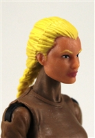 "Female Head:  ""Athena"" Light Skin Tone with Blonde French Braid - 1:18 Scale MTF Valkyries Accessory for 3-3/4"" Action Figures"