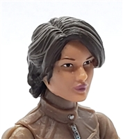 "Female Head:  ""Athena"" Light Skin Tone with Dark Brown Long Hair - 1:18 Scale MTF Valkyries Accessory for 3-3/4"" Action Figures"