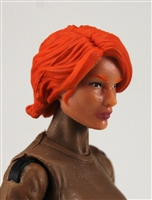 "Female Head: ""Athena""  Light Skin Tone with Red Long Hair - 1:18 Scale MTF Valkyries Accessory for 3-3/4"" Action Figures"