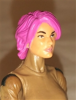 "Female Head:  ""Athena"" Light Skin Tone with Pink Long Hair - 1:18 Scale MTF Valkyries Accessory for 3-3/4"" Action Figures"