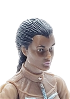 "Female Head: ""Athena"" Dark Skin Tone with Black French Braid - 1:18 Scale MTF Valkyries Accessory for 3-3/4"" Action Figures"