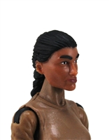 "Female Head: ""Hera"" Tan Skin Tone with Black French Braid - 1:18 Scale MTF Valkyries Accessory for 3-3/4"" Action Figures"