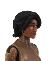"Female Head: ""Hera"" Tan Skin Tone with Black Long Hair - 1:18 Scale MTF Valkyries Accessory for 3-3/4"" Action Figures"
