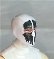 "Male Head: Balaclava WHITE Mask with Black ""SPLIT SKULL"" Deco - 1:18 Scale MTF Accessory for 3-3/4"" Action Figures"