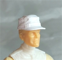 "Headgear: Fatigue Cap WHITE Version - 1:18 Scale Modular MTF Accessory for 3-3/4"" Action Figures"