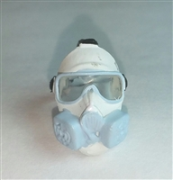 "Headgear: Gasmask WHITE Version - 1:18 Scale Modular MTF Accessory for 3-3/4"" Action Figures"