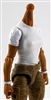 MTF Female Valkyries T-Shirt Torso ONLY (NO WAIST/LEGS): WHITE & WHITE Version with TAN Skin Tone - 1:18 Scale Marauder Task Force Accessory