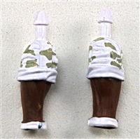 "Male Forearms: Bare with White Camo Rolled Up Sleeves Dark Skin Tone - Right AND Left (Pair) - 1:18 Scale MTF Accessory for 3-3/4"" Action Figures"