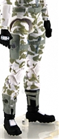 "Female Legs WITH Waist: WHITE CAMO Legs  - Right AND Left Legs WITH Waist - 1:18 Scale MTF Valkyries Accessory for 3-3/4"" Action Figures"