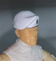 "Headgear: Beret WHITE with Silver Shield Version - 1:18 Scale Modular MTF Accessory for 3-3/4"" Action Figures"