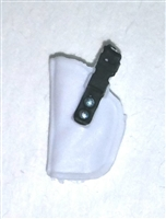 "Pistol Holster: Small Left Handed WHITE with Black Version - 1:18 Scale Modular MTF Accessory for 3-3/4"" Action Figures"