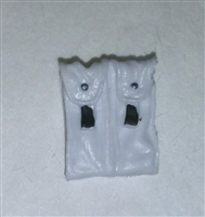 "Ammo Pouch: Double Magazine WHITE with Black Version - 1:18 Scale Modular MTF Accessory for 3-3/4"" Action Figures"
