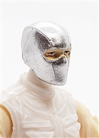 "Male Head: Balaclava Mask SILVER with Eye Area Paint Details - 1:18 Scale MTF Accessory for 3-3/4"" Action Figures"
