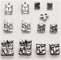 "Pouch & Pocket Deluxe Modular Set: SILVER Version - 1:18 Scale Modular MTF Accessories for 3-3/4"" Action Figures"