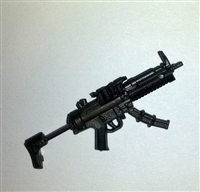 "SWAT Machine Gun w/ Mag & Working Stock GUN-METAL Version BASIC - ""Modular"" 1:18 Scale Weapon for 3-3/4 Inch Action Figures"
