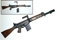 FN FAL Assault Rifle with Handle & Magazine GUN-METAL & BROWN Version - 1:18 Scale Weapon for 3-3/4 Inch Action Figures