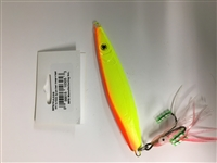 MFS 7oz Flutter Jig Lure Chart/Orange w/Squid