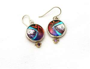 Ricky Frank Sterling Cloisonne Earrings With Stone