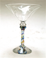 Wendy and Harry Bissett Hand Blown Art Glass Optic Martini