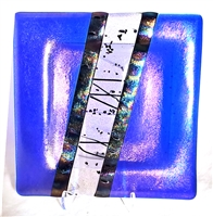"Chris Paulson Cobalt Blue, Iridized Black and Clear with Black Stringer 6""  Plate"