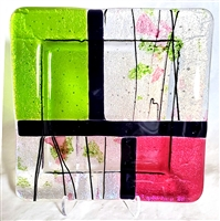"Chris Paulson 6"" Ruby Pink, Lime Green, confetti Black Stringers and Diagonal Iridized Black Plate"