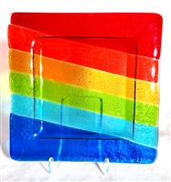 "Chris Paulson 6"" Rainbow Fused Glass Plate"