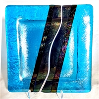"Chris Paulson 6"" Turquoise Blue, Iridized Black and Clear with Black 6""  Plate"