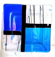 "Chris Paulson 6"" Two Blue and Stringer Glass Tray"