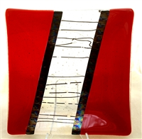 "Chris Paulson 9.5"" Translucent Red Glass Tray"