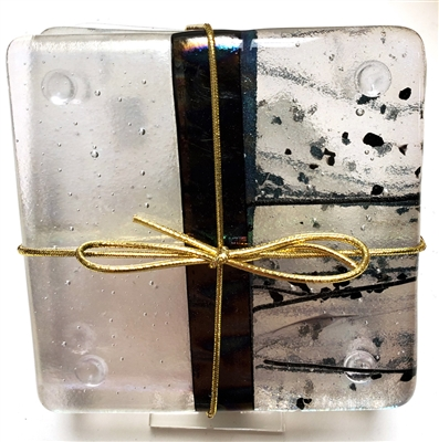 Chris Paulson  Iridized Clear, Black, Stringer Coasters