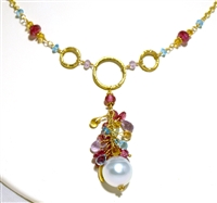 Marya Drabowski 18Kt Gold, South Sea Pearl and Semi Precious Gem Necklace