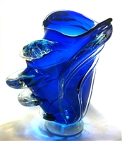 Hand blown Cobalt Blue Tornado Vase