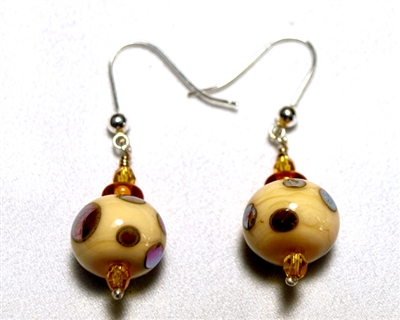 Alicia Niles  Ivory With Gold Dot Earrings