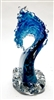 Ben Silver  Large Caribbean Blue Wave Glass Sculpture