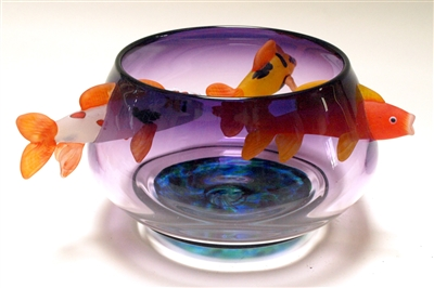 David Leppla Hand Blown Glass Purple Koi Bowl