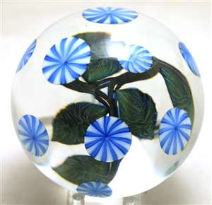 David Lotton Blue Floral Paperweight