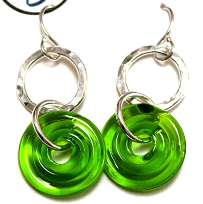 Dianne Zack Green Disk and Ring Earrings