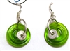 Dianne Zack Mini Green Disk Earrings