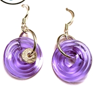 Dianne Zack Mini Purple Disk Earrings
