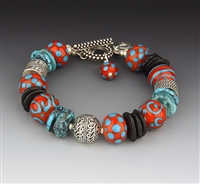 Dianne Zack Turquoise and Onyx Bracelet