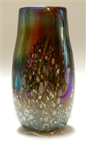 Elaine Hyde Hand Blown Glass Medium Confetti on Blue Bud Vase