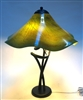Joel Bless Wavy Mossy Green  Hand Blown GlassTable lamp
