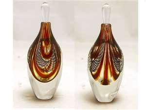 Hermann Lunn Hand Blown Red Perfume Bottle